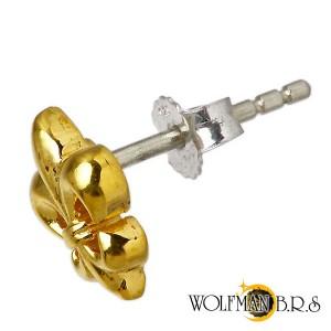 WOLFMAN B.R.S ウルフマン シルバー ピアス メンズ レディース カットアウトフレアG スタッド 1個売り片耳用ユリ WO-E-002AG