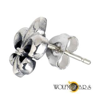 WOLFMAN B.R.S ウルフマン シルバー ピアス メンズ レディース カットアウトフレア スタッド 1個売り片耳用ユリ WO-E-002