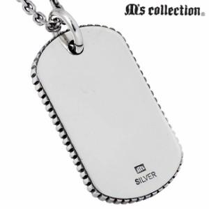 M's collection エムズ コレクション Thorn シルバー ネックレス メンズ ドッグタグ ストーン XP-094