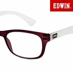 EDWIN エドウィン シニアグラス メンズ AGING glasses 老眼鏡 SLIM PLATE マットクリアパープル×ホワイト EDR-32-5