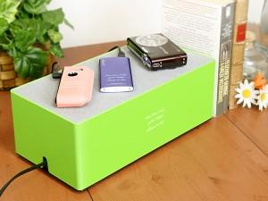 【名入れモバイルスタンド】【名入れ母の日ギフト】【名入れ無料】モバイル充電ステーション グリーン