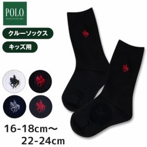61a1cd2cfcb17 グンゼ POLO 子供用ワンポイント刺繍 クルー丈ソックス 16-18cm22-24cm