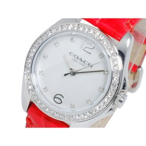 319cff3dfd コーチ レディース 腕時計/COACH Tristen Mini レザー 腕時計 ホワイトシェル/レッド