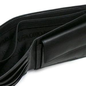 エンポリオアルマーニ メンズ 二つ折り財布/EMPORIO ARMANI PORTAFOGLIO レザー 二つ折り財布 BK