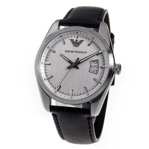 エンポリオアルマーニ メンズ 腕時計/EMPORIO ARMANI レザー 腕時計 シルバー