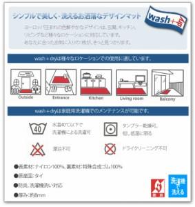 Wash+dry ウォッシュドライ 洗える 玄関マット Resi レジ A030A (R) 約50×75cm フロアマット キッチンマット 屋外 屋内