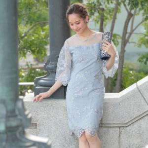 ドレス 結婚式 パーティードレス 小花 刺繍 デコルテ シアー レース タイト 膝丈 ドレス | ドレス ワンピース 発表会 結婚式 ワンピース
