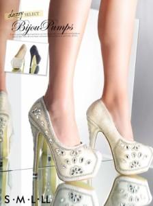 パンプス 靴 S/M/L/LL 15cmヒール フラワーモチーフビジューキラキラ前厚パンプス シューズ キャバ