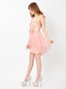 ドレス キャバ ワンピース 大きいサイズ SMLサイズ ビジュー付き背中編み上げベアスカラップカットxAラインミニドレス キャバドレス