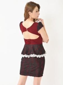 9dcaf949bda4a ドレス キャバ ワンピース 大きいサイズ SMLサイズ ビジュー付ブラックレースタイトミニドレス キャバドレス