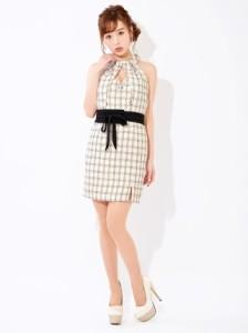 ドレス キャバ ワンピース 大きいサイズ SMLサイズ ベルト付ホルターネックxラメツイードタイトミニドレス キャバドレス