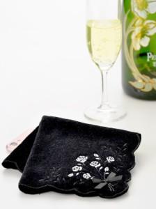 キャバ 結婚式 二次会 謝恩会 リボン付きRose刺繍スカラップ型ふんわりタオルハンカチ ハンドタオル