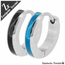 シンプルカラーラインステンレスフープピアス(1P片耳)【ZanipoloTerzini】ステンレス リング ピアス フープ メンズ 片耳 ブランド