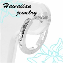 【ハワイアンジュエリー】手彫りスクロール柄中折れフープシルバーピアス(1P片耳)シルバー925 メンズ レディース リング ピアス 片耳