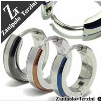 【ZanipoloTerzini】3カラーラインステンレスフープピアス(1P片耳)サージカルステンレス リング ピアス フープ メンズ 片耳 ブランド