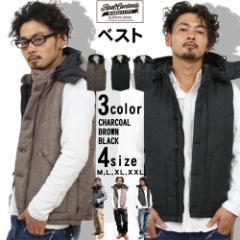 中綿 ベスト メンズ 中綿ダウンベスト ウール ベスト ヘリンボン ツイード リアルコンテンツ ストリート系 ファッション SALE