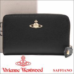 ヴィヴィアンウエストウッド 二つ折りラウンド財布 Vivienne Westwood 財布 レディース メンズ ブラック 51080002 SAFFIANO BLACK 17AW