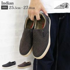 即納 あす着 送料無料 スニーカー メンズ インディアン スリッポン 靴 Indian IND-11503