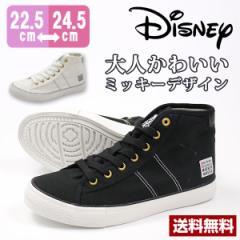 即納 あす着 送料無料 スニーカー レディース 黒 白 ディズニー ハイカット 靴 DISNEY 7301