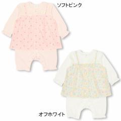 12/20NEW MY FIRST BABYDOLL-総柄キャミワンピ風ロンパース-ベビーサイズ ベビードール 子供服-0118B