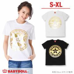SS_SALE60%OFF 親子ペア ベビードール箔プリント Tシャツ 大人 男女兼用 レディース メンズ ベビードール 子供服-0218A