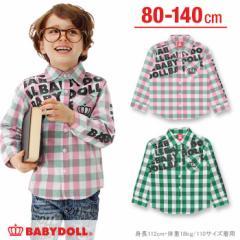 2/19NEW ギンガムロゴシャツ-ベビーサイズ キッズ ベビードール 子供服-0256K