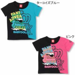 2/19NEW 斜め切替Tシャツ-ベビーサイズ キッズ ベビードール 子供服-0304K
