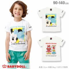 親子ペア ディズニー フォト Tシャツ ベビーサイズ キッズ ベビードール ペアルック 子供服 /DISNEY -0486K