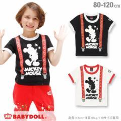 4/18NEW ディズニー サスペンダー Tシャツ-ベビー キッズ ベビードール 子供服 /DISNEY -0487K