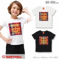 9/26一部再販 SS_SALE50%OFF 親子ペア チェック貼付 Tシャツ ベビーサイズ キッズ ジュニア ベビードール ペアルック 子供服-0568K
