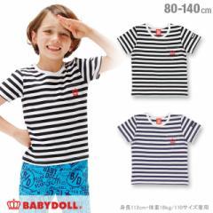 SS_SALE50%OFF 親子ペア ボーダー Tシャツ ベビーサイズ キッズ ベビードール ペアルック 子供服-0673K
