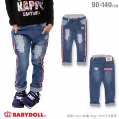 NEW ロゴテープ デニム ロングパンツ 1028K ベビードール BABYDOLL 子供服 ベビーサイズ キッズ 男の子 女の子 おしゃれ