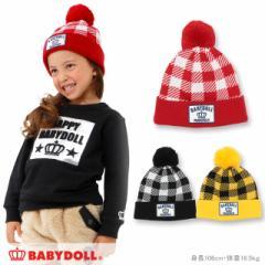 NEW チェック柄 ニット帽 1297 ベビードール 子供服 ベビー キッズ 男の子 女の子 雑貨 ニットキャップ 帽子 防寒 冬小物(v30)