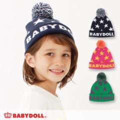 NEW 星柄 ニット帽 1300 ベビードール BABYDOLL キッズ 雑貨 帽子 男の子 女の子 ニットキャップ 防寒 ぼんぼん 星(v30)