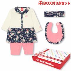 7/11NEW ギフトセット 1445B ベビードール 子供服 ベビー服 ベビーサイズ 女の子 出産祝い 誕生日 プレゼント ボーダー 花柄