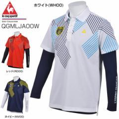 ルコック メンズ ゴルフウェア 半袖ポロシャツ + Vネック 長袖インナーシャツ セット QGMLJA00W 2018年春夏モデル M-3L