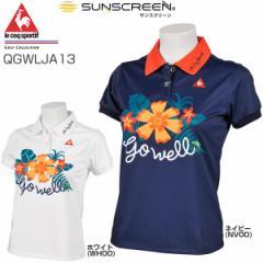 ルコック レディース ゴルフウェア トロピカルフラワープリント 半袖ポロシャツ QGWLJA13 2018年春夏モデル S-LL