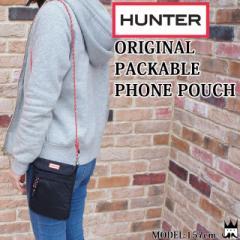 ハンター HUNTER メンズ レディース ポーチ UBP7012KBM オリジナル パッカブル フォン ナイロン ストラップ 耐水 黒 ブラック 携帯 スマ