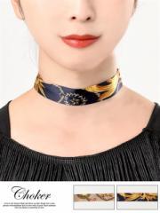 スカーフ風 スカーフ柄 チョーカー ネックレス レディース アクセサリー 女性 大人 DRW