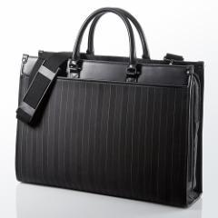 【送料無料】ストライプ ビジネスバッグ 大容量 ダブルルーム A4収納 メンズ パソコンバッグ [200-BAG088]