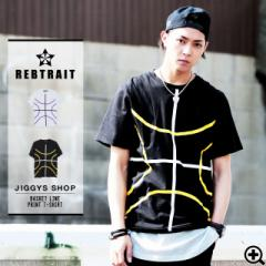 Tシャツ メンズ トップス 半袖 プリント ストリート 原宿系 たけぞー REBTRAIT JIGGYS / バスケットラインプリントTシャツ