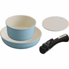 フライパン 鍋 3点セット ガス火/IH対応 時短調理 お手入れ簡単 取っ手の取れる セラミックカラーパン ブルー CC-SE3N アイリスオーヤマ