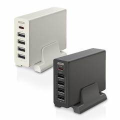 600円OFFクーポン配布中 USB Type-C×1ポート USB Type-A×4ポート PD30W AC充電器 同時充電 スマホ タブレット スタンド付き 急速充電 2