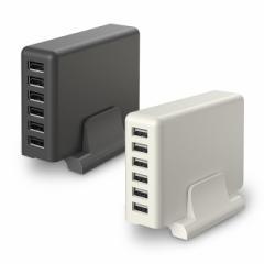 600円OFFクーポン配布中 USB Type-A×6ポート AC充電器 6台同時充電 スマホ タブレット スタンド付き 60W 2年保証 MOTTERU MOT-AC60U6 iP