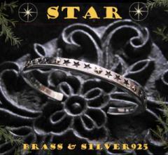 スターバングル(2)SV+B/(メイン)シルバー925製バングル銀・星送料無料
