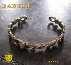 ブラスデザインバングル(2)/(メイン)金色・真鍮製(ブラス製)・唐草送料無料