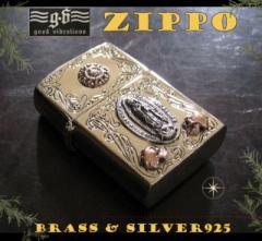 【GV】ZIPPOライター・マリアプレート(1)SV+B/(メイン)金色・真鍮製(ブラス製)・シルバー925製銀・GOOD VIBRATIO送料無料
