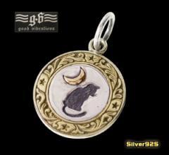 【GV】三日月とネコのコインペンダント(1)/(メイン)・猫・動物・三日月・ネックレス・シルバー925(銀)・送料無料