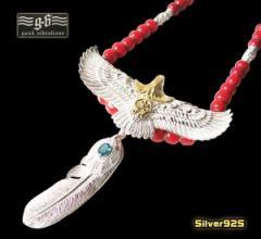 【GV】レザーホワイトハートネックレス(3)/・フェザーネックレス・ビッグイーグル・羽根・動物・鳥・天然石・トパーズ・シルバー925(送