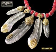 【GV】レザーホワイトハートネックレス(5)/・フェザーネックレス・ビッグイーグル・羽根・動物・鳥・シルバー925(銀)・送料無料